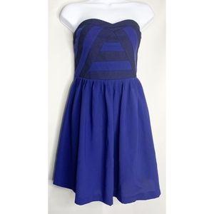 Silence + noise blue stripe strapless mini dress 8